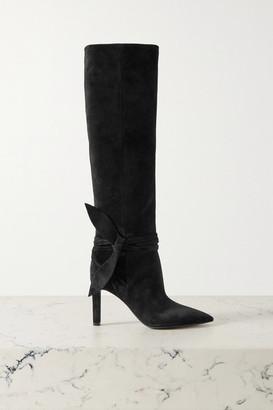 Saint Laurent Grace Bow-embellished Suede Knee Boots - Black