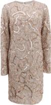 Monique Lhuillier Long-Sleeve Sequin Dress