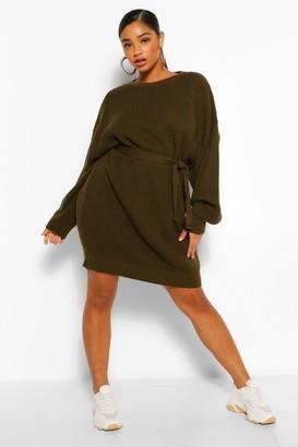 boohoo Plus Waffle Knitted Self Belt Jumper Dress