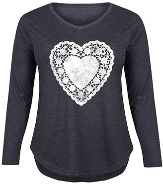 Instant Message Plus Women's Tee Shirts HEATHER - Heather Charcoal Doily Heart Long-Sleeve Tee - Plus
