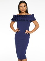 Quiz Navy Scuba Big Frill Midi Dress - Navy