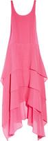 Tiered stretch silk-crepe dress