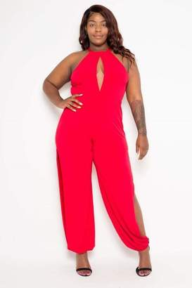 Couture Buxom Show A Little Skin Slit Jumpsuit in Red Size 1X