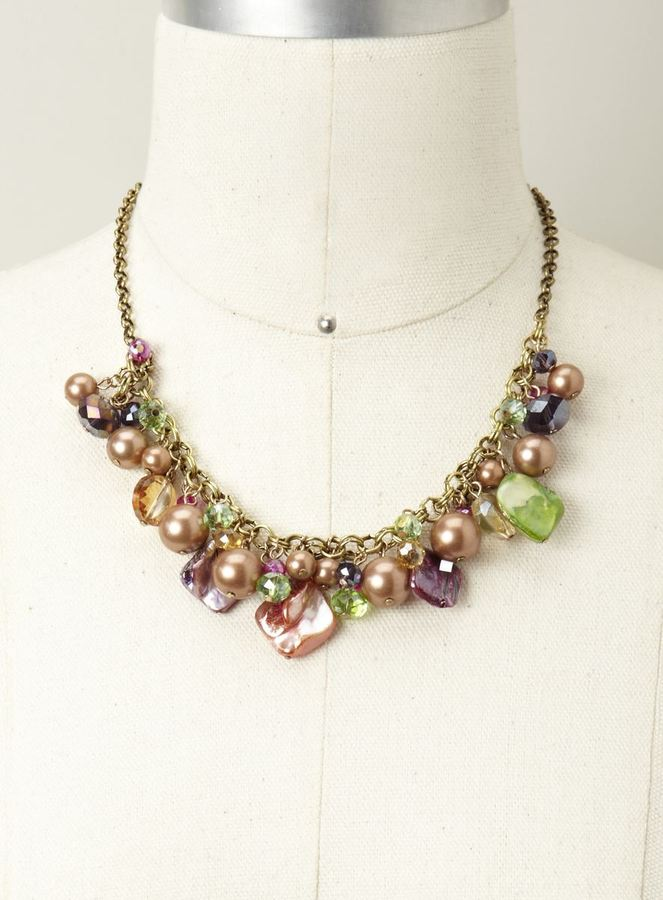 Stephan & Co Shell & Bead Cluster Necklace