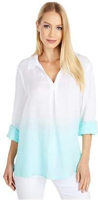 Vince Camuto Long Sleeve Split-Neck Linen Dip-Dye Tunic (Ultra White) Women's Clothing