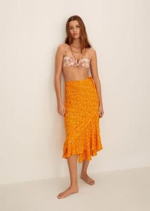 MANGO Wrap print sarong skirt off white - One size - Women