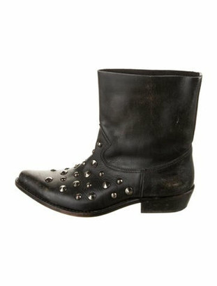 Golden Goose Leather Distressed Accents Boots Black