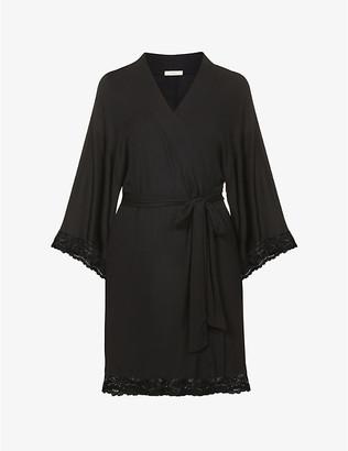 Eberjey Women's Black Colette Lace-Trim Jersey Robe, Size: L