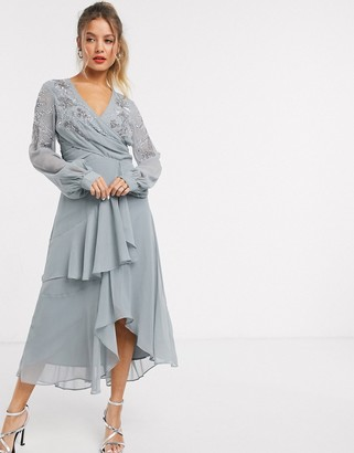 ASOS DESIGN embellished wrap waist midi dress with double layer skirt and long sleeve