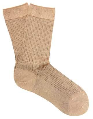 Falke No.2 Silk-blend Polka-dot Socks - Womens - Camel