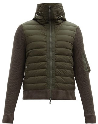 Moncler Down-quilted Shell And Jersey Hooded Cardigan - Khaki