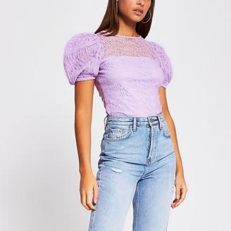 River Island Light purple short puff sleeve lace top