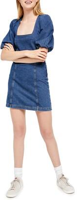 BDG Puff Sleeve Denim Body Con Minidress