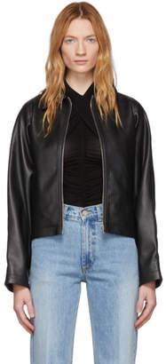 we11done Black Faux-Leather Blouson Jacket