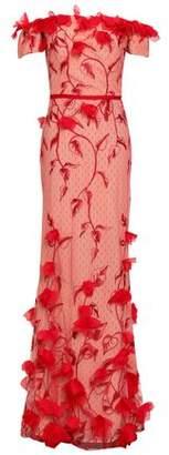 Marchesa Off-the-shoulder Floral-appliqued Embroidered Point D'esprit Gown