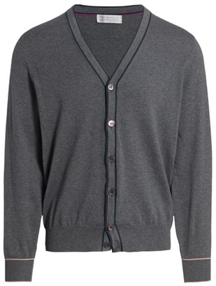 Brunello Cucinelli Tipping Cotton Cardigan