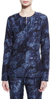 Elizabeth and James Davidson Long-Sleeve Floral Silk Blouse, Royal/Black