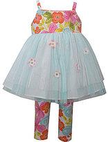 Bonnie Jean Bonnie Baby Girls 12-24 Months Floral-Bodice Mesh Dress & Floral Leggings Set