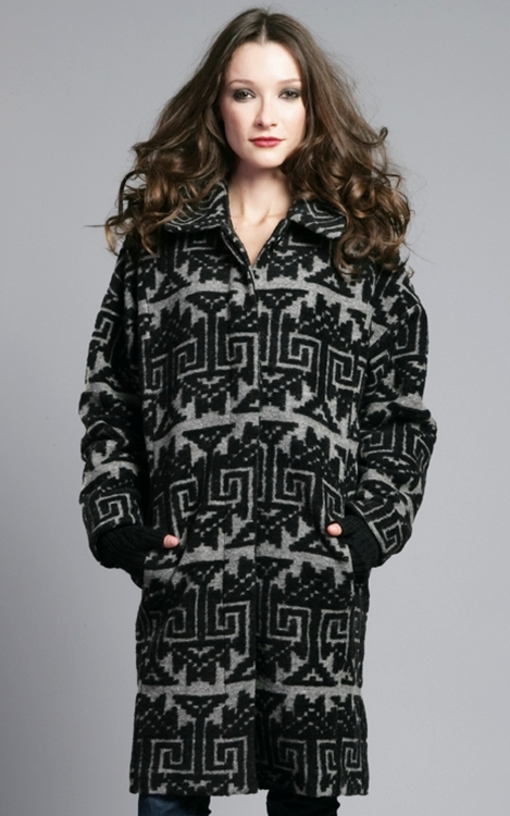 Tracy Reese Plenty Stone Grey/Black Cocoon Coat