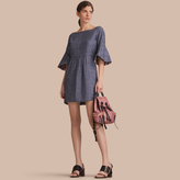 Burberry Bell Sleeve Cotton Chambray Dress with Check Detail