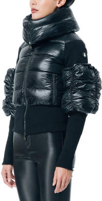 SNOWMAN New York Obscure Folded-Collar Puffer-Sleeve Jacket