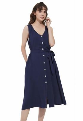 Basic Model Button Up Maxi Dresses for Women Long Sleeve Elastic Waist Split V Neck Party Dress