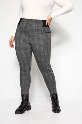 Womens Yours Curve Ponte Roma Check Trousers - Grey