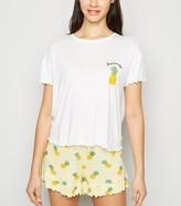 New Look Pineapple Frill Slogan Pyjama Short Set