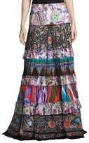 Roberto Cavalli Mixed-Print Tiered Maxi Peasant Skirt, Multicolor