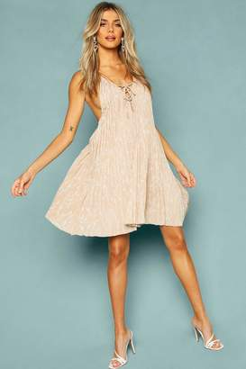 boohoo Floral Print Lace Front Swing Dress