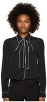 Moschino Crepe De Chine Long Sleeve Blouse Women's Clothing