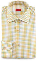 Isaia Check Woven Dress Shirt, Yellow/Green