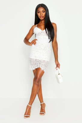 boohoo Strappy Lace Midi Bodycon Dress