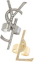 Saint Laurent embellished logo rings