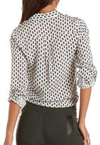 Charlotte Russe Tie-Front Roll-Cuff Challis Top