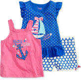 Nannette 3-Pc. Marina Motif Tank Top, T-Shirt & Shorts Set, Toddler & Little Girls (2T-6X)