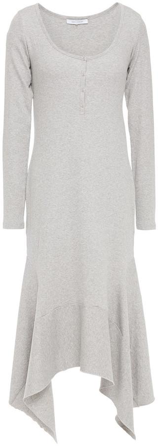 Ninety Percent Asymmetric Melange Ribbed Organic-cotton Blend Dress