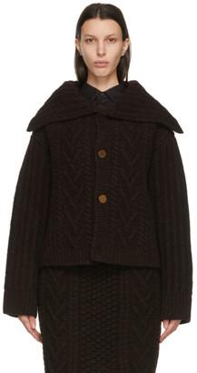 Bottega Veneta Brown Shetland Wool Patchwork Cardigan