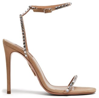 Aquazzura Very Vera 105 Crystal-embellished Suede Sandals - Nude
