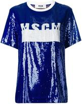 MSGM sequinned logo T-shirt - women - Cotton/Polyamide/Polyester - 40