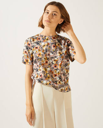 Jigsaw Sunbleached Floral Silk T-Shirt