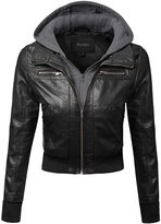 Plus4u Faux Leather Bomber Military Style Hooded Jacket Plus Size Black Gray Size 2XL