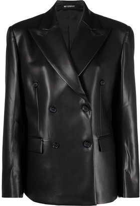 Misbhv Double-Breasted Faux Leather Blazer