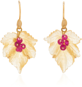 Annette Ferdinandsen Arragonite Fancy Leaf Earrings with Rubies