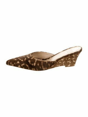 Maryam Nassir Zadeh Ponyhair Pointed-Toe Mules Brown