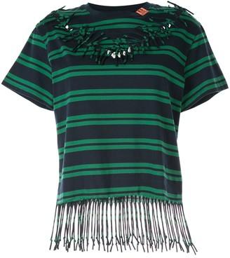 Maison Mihara Yasuhiro striped fringed sewn-up T-shirt