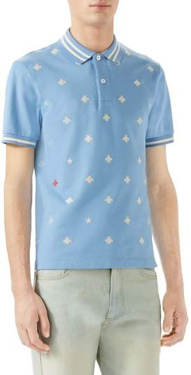 Gucci Embroidered Bee Pique Polo