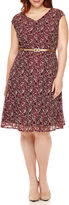 London Times London Style Collection Cap-Sleeve Lace Belted Fit-and-Flare Dress - Plus