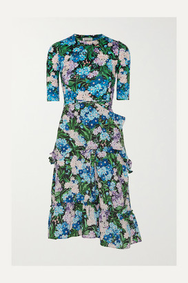 Balenciaga Gathered Floral-print Jersey And Crepe Dress - Blue