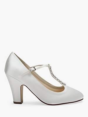 Rainbow Club Frankie T-Bar Block Heel Court Shoes, Ivory